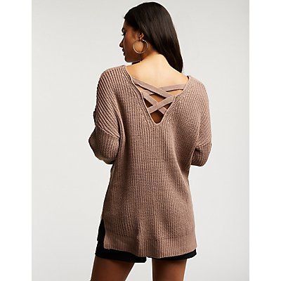 Caged Back Pullover Sweater