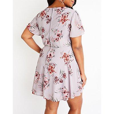 Plus Size Floral Tie Front Dress