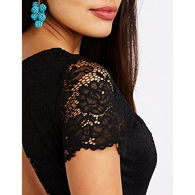 Floral Lace Open Back Bodycon Dress