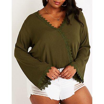 Plus Size Crochet Bell Sleeve Top