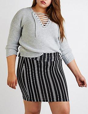 Plus Size Striped Mini Skirt