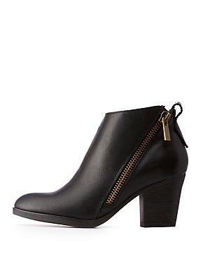 Asymmetrical Zipper Ankle Booties