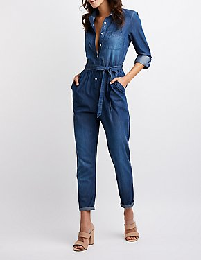 Chambray Button Up Jumpsuit