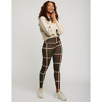 Plaid Hi Waisted Leggings