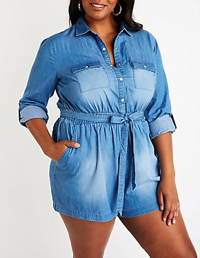 Plus Size Chambray Button Up Romper