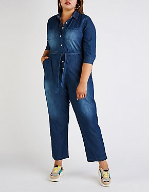Plus Size Chambray Button Up Jumpsuit
