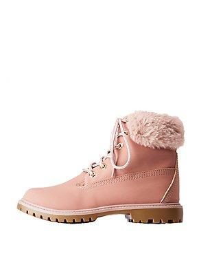 Faux Fur Lined Combat Boots