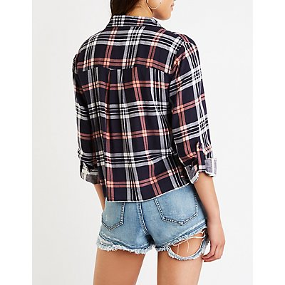 Windowpane Button Up Top