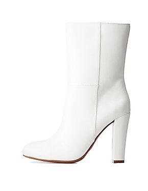 Mid Calf Almond Toe Boots