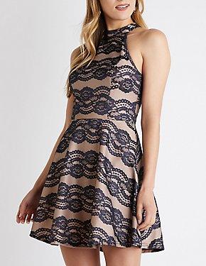 Mock Neck Lace Skater Dress