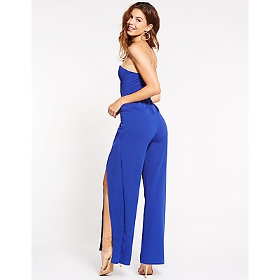 V-Neck Split Wide Leg Jumpsuit