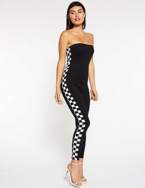 Checkered Trimmed Jumpsuit