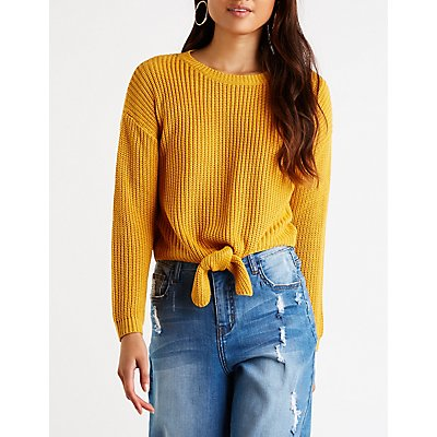 Front Tie Crop Sweater