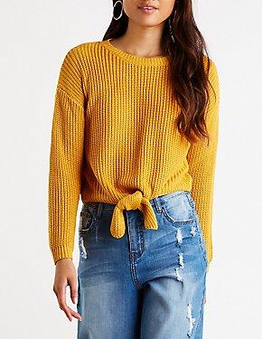 Front Tie Crop Sweater
