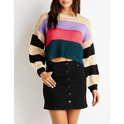Striped Crop Pullover Sweater