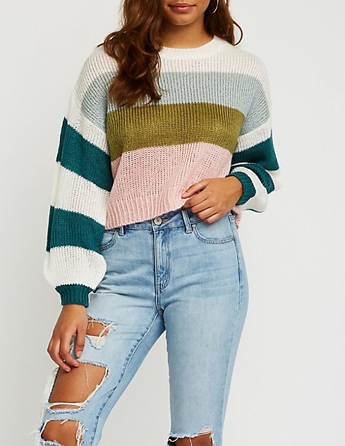 3455308f02 Striped Crop Pullover Sweater