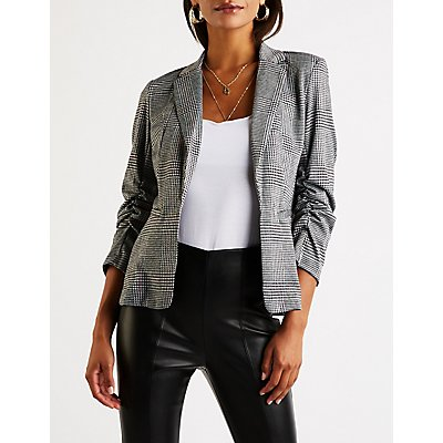 Glen Plaid Ruched Blazer