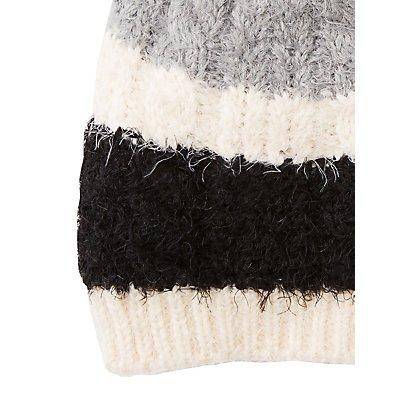 Striped Fuzzy Pom Beanie