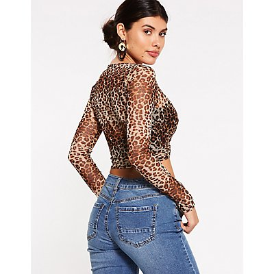 Leopard Mesh Crop Top