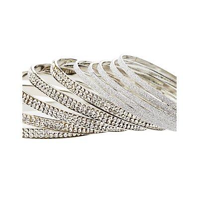 Crystal & Glitter Bangles - 10 Pack