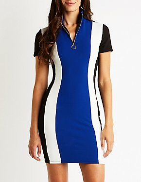 Striped Mock Neck Bodycon