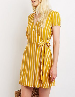 Striped Wrap Skater Dress