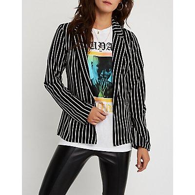 Striped Open Front Blazer