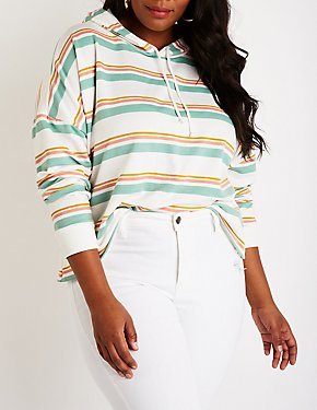 Plus Size Striped Crop Hoodie