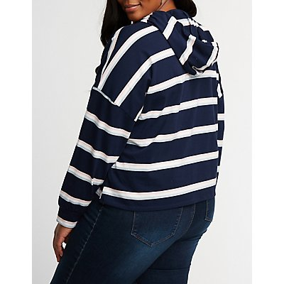 Plus Size Striped Crop Hoodie