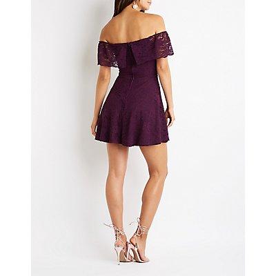 Lace Off The Shoulder Skater Dress