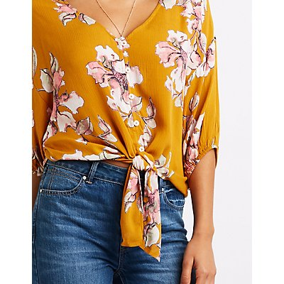 Floral Button Up Tie-Front Top