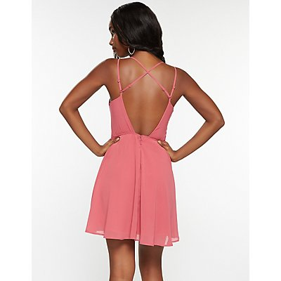 Notched Open Back Skater Dress