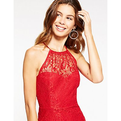 Bib Neck Lace Bodycon Dress