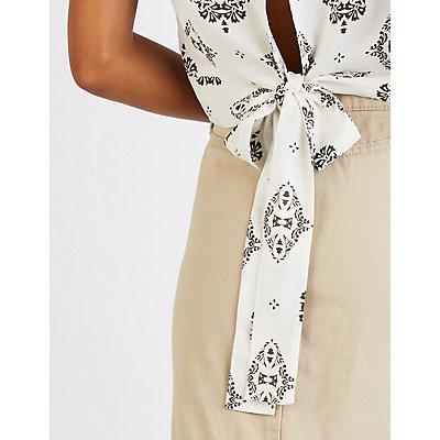 Printed Tie Back Wrap Top