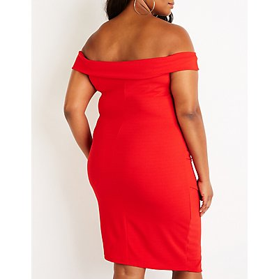 Plus Size Ruched Off The Shoulder Dress
