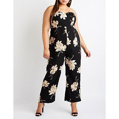 Plus Size Floral V Neck Jumpsuit