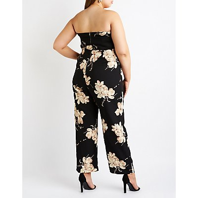Plus Size Floral V Neck Jumpsuit