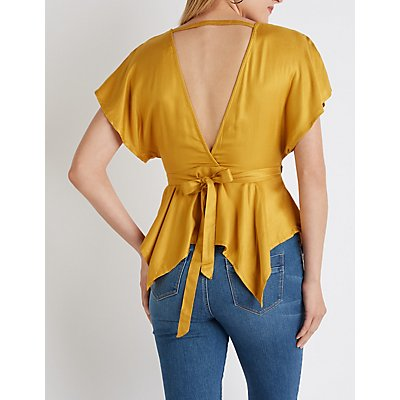 Asymmetrical V-Neck Wrap Top