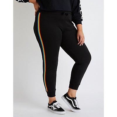 Plus Side Rainbow Side Stripe Jogger Pants