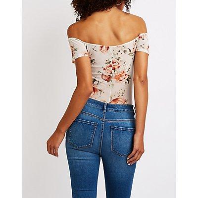 Floral Mesh Twist Front Bodysuit