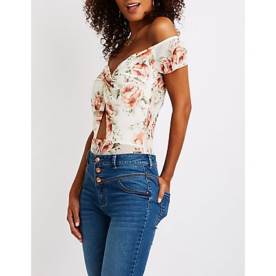 Floral Mesh Twist-Front Bodysuit