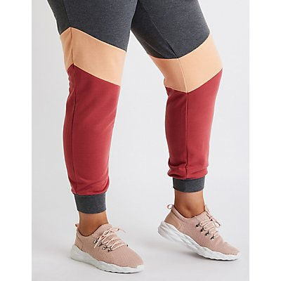 Plus Size Color Block Jogger Pants