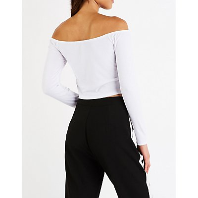 Ribbed Off The Shoulder Button Up Top