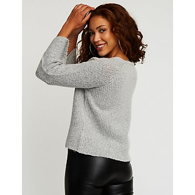 V Neck Bell Sleeve Sweatshirt