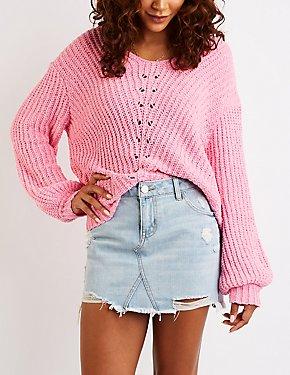Chenille V-Neck Pullover Sweater