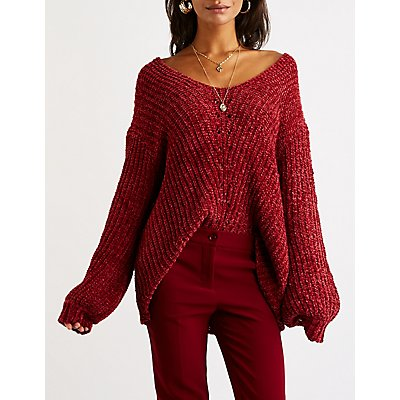 Chenille V-Neck Pullover Sweater