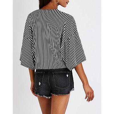 Striped Tie Front Kimono Top