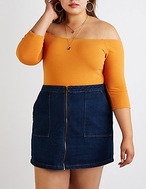 Plus Size Three Quarter Sleeve Bodysuit