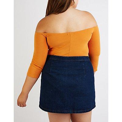 Plus Size Three Quarter Sleeve Bodysuit