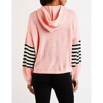 Sleeve Striped Pullover Hoodie